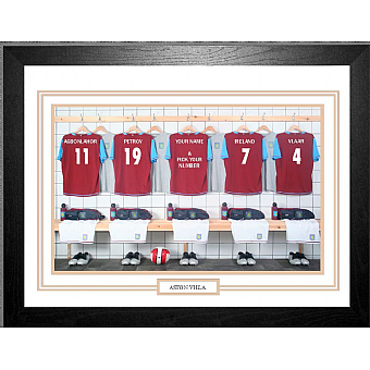 Personalised Framed Unofficial Aston Villa Football Shirt Photo A3