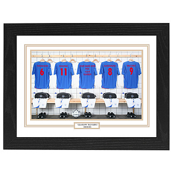 Personalised Framed Unofficial Glasgow Rangers team shirt photo