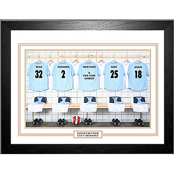 Personalised Framed 100% Unofficial Man City Football Shirt Photo A3